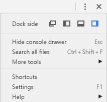 Google Chrome Developers Tools Options Menu